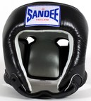 View the Sandee Kids Open Face Kids Thai Head Guard Synthetic Leather Black online at Fight Outlet