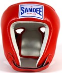 View the Sandee Open face Head Guard Leather Red/White  online at Fight Outlet