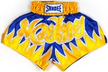 View the Sandee Vanquish Satin Thai Boxing Shorts - Blue/Yellow online at Fight Outlet