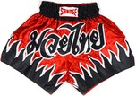 View the Sandee Vanquish Satin Thai Boxing Shorts - Red/Black  online at Fight Outlet