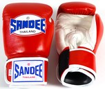 View the Sandee Velcro 2 Tone Boxing Gloves Leather- Red/White online at Fight Outlet