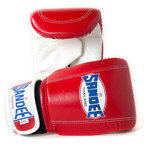 View the Sandee Velcro Bag Gloves Leather - Red/White online at Fight Outlet