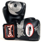 View the FBGV-23 Twins Black-Silver Dragon Boxing Gloves online at Fight Outlet