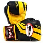 FBGV-43 Twins Black-Yellow Stripe Boxing Gloves