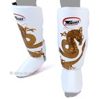 View the FSG-23 Twins White-Gold Dragon Shin Pads online at Fight Outlet