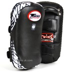 View the KPL-10 Twins Black Curved Leather Thai Kick Pads online at Fight Outlet