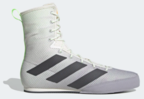 View the Adidas Box Hog 3 Boxing Boots, White/Grey/Signal Green online at Fight Outlet