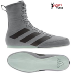 View the Adidas Box Hog 3 Grey/Black Boxing Boots online at Fight Outlet