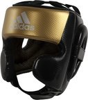 View the Adidas Hybrid Sparring Head Guard Black/Gold online at Fight Outlet