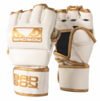 View the Bad Boy MMA Glove With Thumb, White/Gold online at Fight Outlet