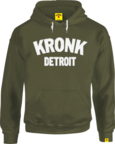 View the KRONK Detroit Applique Hoodie Regular Fit Military Green with White logo online at Fight Outlet
