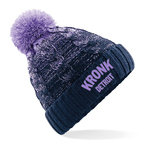 View the KRONK Detroit Cable Knit Bobble Hat Lilac/Navy online at Fight Outlet