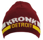View the KRONK Detroit Two Stripe Beanie Hat Maroon online at Fight Outlet