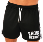 View the KRONK Iconic Detroit Applique Lined Shorts Black/White online at Fight Outlet