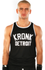 View the KRONK Iconic Detroit Applique Training Gym Vest Black/White online at Fight Outlet