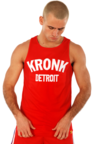 View the KRONK Iconic Detroit Applique Training Gym Vest Red/White online at Fight Outlet