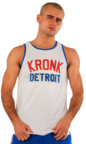 View the KRONK Iconic Detroit Applique Training Gym Vest White/Red/Blue online at Fight Outlet