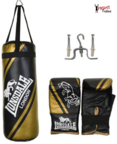 View the Lonsdale Club Junior Punch Bag Set Black/Gold online at Fight Outlet