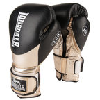 View the Lonsdale L60 Pro Leather Training Gloves, Hook and Loop, Black, Metallic Gold  online at Fight Outlet