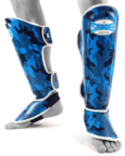 View the Sandee Authentic Kids Camo Blue/White Synthetic Leather Boot Shinguard online at Fight Outlet