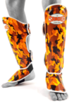 View the Sandee Authentic Kids Camo Orange/White Synthetic Leather Boot Shinguard online at Fight Outlet