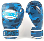 View the Sandee Authentic Kids Velcro Camo Blue/White Synthetic Leather Boxing Glove online at Fight Outlet