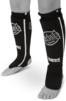 View the Sandee Black/White Cotton Slip-on Competition Shinguard online at Fight Outlet
