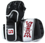 View the Sandee Sport Black/White/Red Synthetic Leather MMA Sparring Glove online at Fight Outlet