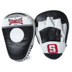View the Sandee Sport Synthetic Leather Black & White Curved Focus Mitt online at Fight Outlet