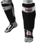 View the Sandee Sport Velcro Black/White/Red Synthetic Leather Boot Shinguard online at Fight Outlet