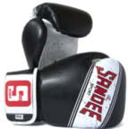 View the Sandee Sport Velcro Black/White/Red Synthetic Leather Boxing Glove online at Fight Outlet