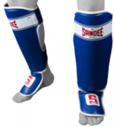 View the Sandee Sport Velcro Blue/White Synthetic Leather Boot Shinguard online at Fight Outlet