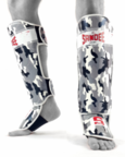 View the Sandee Sport Velcro Camo Grey & White Synthetic Leather Boot Shinguard online at Fight Outlet