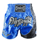 View the Sandee Unbreakable Royal Blue/Silver/Navy Thai Shorts online at Fight Outlet