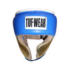 View the Tuf Wear Apollo Metalic Leather Headguard with Cheek Protectors Blue/Gold online at Fight Outlet