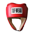 View the Tuf Wear PU Open Face Headguard Red online at Fight Outlet