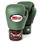 BGVL-3 Twins Olive Green Velcro Boxing Gloves