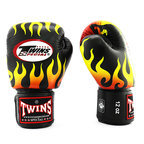 View the FBGVL3-7 Twins Black Fire Flame Boxing Gloves online at Fight Outlet