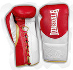Lonsdale L60 Pro Leather Fight Gloves, Red White Gold