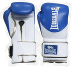 Lonsdale L60 Pro Leather Training Gloves, Hook and Loop, Blue, White, Gold