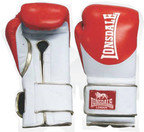 Lonsdale L60 Pro Leather Training Gloves, Hook and Loop, Red, White, Gold