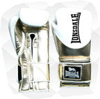 Lonsdale L60 Pro Leather Training Gloves, Hook and Loop, White, Metallic Gold