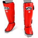 View the MTG MTG-SF1 Pro Red Leather Shin Pads online at Fight Outlet