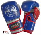 Pro Box NEW 'CHAMP SPAR' Boxing Gloves Blue/Red/Silver