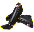 View the Sandee Authentic Boot Shin Guards Leather Black & Yellow  online at Fight Outlet
