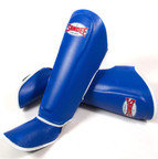View the Sandee Authentic Boot Shin Guards Leather Blue & White online at Fight Outlet