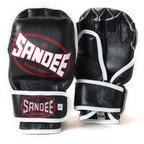 View the Sandee Black & White Leather MMA Sparring Glove online at Fight Outlet