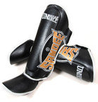 View the Sandee Cool-Tec Boot Shin Guards Leather Black/Gold/White online at Fight Outlet
