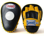 View the Sandee Curved Focus Mitts, Leather - Black/Yellow online at Fight Outlet