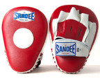 View the Sandee Curved Focus Mitts, Leather- Red/White online at Fight Outlet